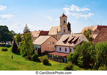 Landscape with St Florian Church in Old city of Varazdin in ...
