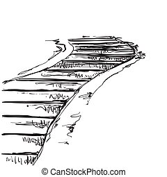Landscape with staircase, landmark, old road, hand-drawing...