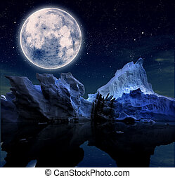 landscape with starry night and a full moon