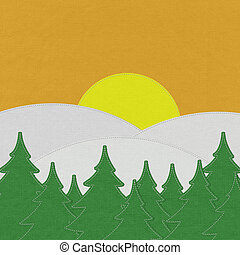 Landscape with stitch style on fabric background