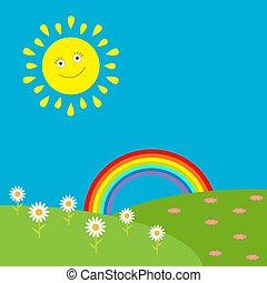 Landscape with sun, rainbow and flowers.