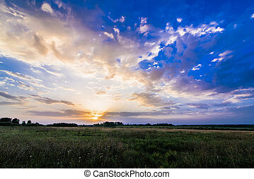 landscape with sunrise and sun on a cloudy blue sky over the field in summer