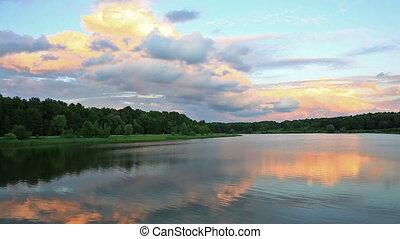 landscape with sunset on lake