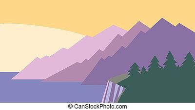 Landscape with sunset/sunrise