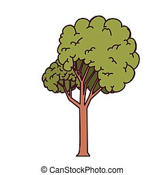 landscape with tall tree isolated icon