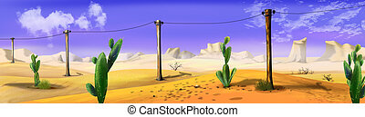 Landscape with telegraph-pole