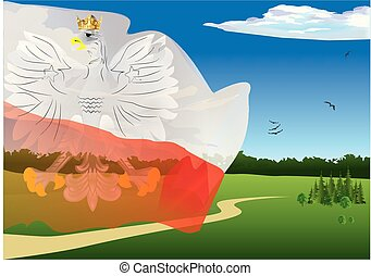 landscape with the flag and the emblem of Poland