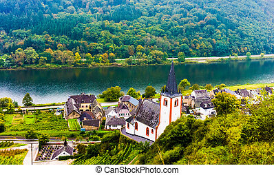 Landscape with the river Moselle in Germany.  panorama of Mosell