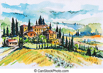 Landscape with town and cypress trees in Tuscany, Italy. Picture created with watercolors.