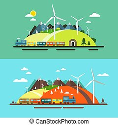 Landscape with Train. Abstract Flat Design Nature Scene with Mountains, Hills and Wind Mills