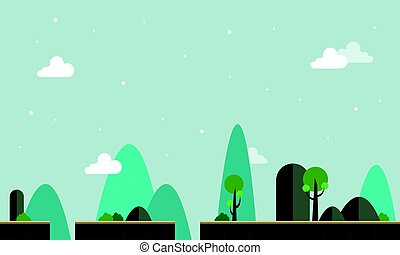 Landscape with tree game background