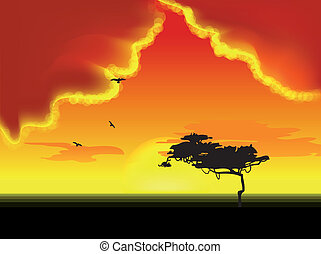 Landscape with tree on horizon. Vector