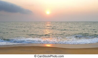 landscape with tropical sea sunset on the beach
