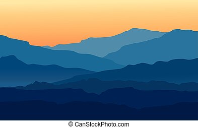 Landscape with twilight in blue mountains