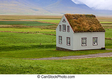 Landscape with typical house in Iceland, Europe.