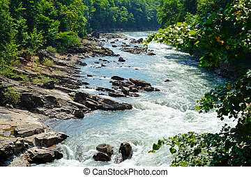 Landscape with view of mountain river. Belaya River in Republic of Adygea, Russia
