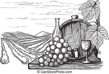 Landscape with views of vineyards, tanks for wine and grapes...