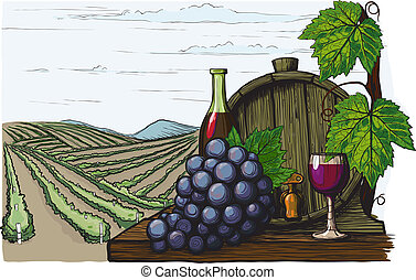 Landscape with views of vineyards, tanks for wine and grapes. in a woodcut like method