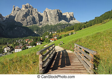landscape with village Colfosco and Sella peak, South Tyrol...