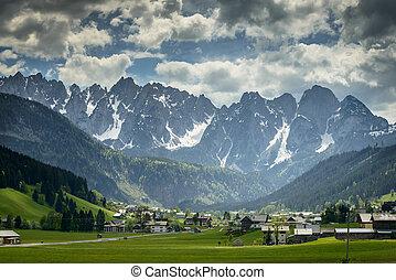 Landscape with village in the mountains, Salzkammergut, Austria