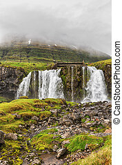 Landscape with waterfall.