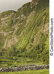 Landscape with waterfalls in Faja Grande, Flores island. Azores, Portugal