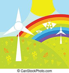 Landscape with wind generators