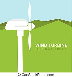 Landscape with wind turbine. Vector