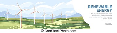 Landscape with wind turbines, windmills on web banner template. Sustainable renewable green energy concept. Scenery with eco-friendly electricity resources in nature. Flat vector illustration