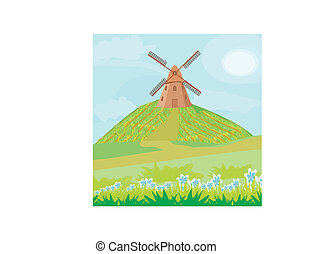 Landscape with windmill.