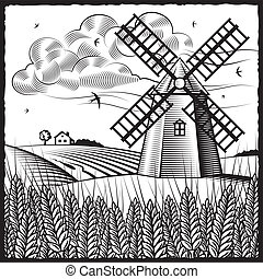 Retro landscape with windmill in woodcut style. Black and white vector illustration with clipping mask.