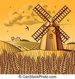 Retro landscape with windmill in woodcut style. Vector illustration with clipping mask.