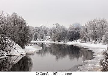 winter river in the city