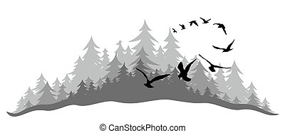 Landscape with wood and birds.