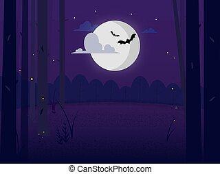 landscape, wolken, nacht, maan, onder