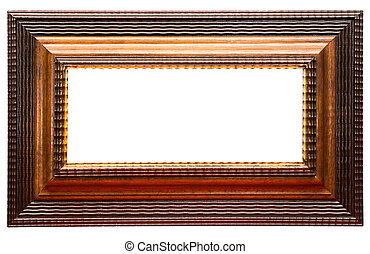Landscape Wooden Picture Frame with Clipping Path