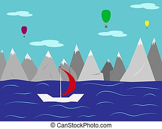 Landscape. Yacht with a red sail in the sea against the mountains and balloons