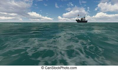 landscape, zee, met, scheeps , in, de, zee
