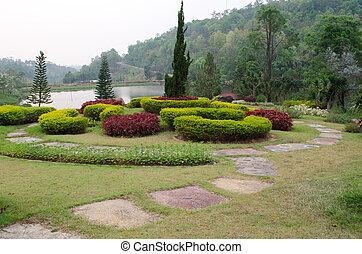 landscaped, förmlichkeit, garden., park.