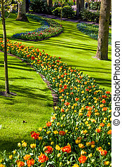 Landscaped Formal Garden. Park.  Beautiful Garden.