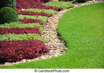 landscaped, hof, kleingarten