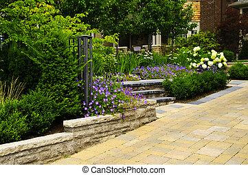 landscaped, ogród, i, kamień, wybrukowany, podjazd