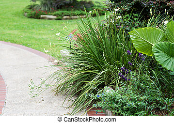 Landscaped Sidewalk - pretty landscaping along a sidewalk...
