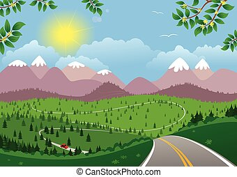 landscape.eps, montanhoso, dia