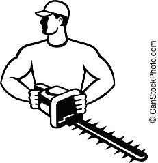 landscaper, fronte, nero, o, giardiniere, retro, trimmer, cesoie, siepe, giardino, bianco, vista
