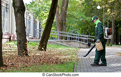 Landscaper operating gasoline Leaf Blower while cleaning the tracks in the park