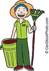 landscaper, trashcan, ancinho