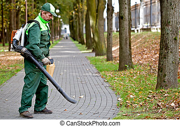 Landscaper removing dead leaves in park using petrol leaf blower