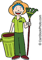 Landscaper with trashcan and rake isolated on a white background.