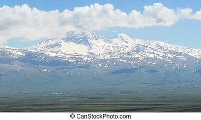Landscapes and Snowy Peaks Mountains of Armenia. Time lapse